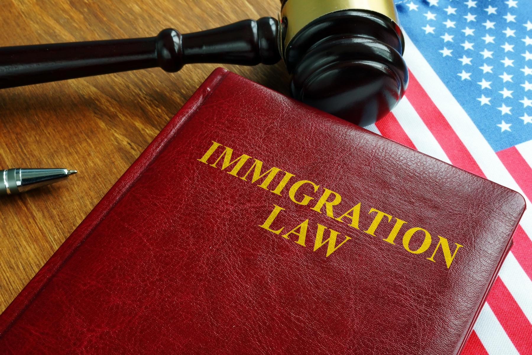 Immigration law act and USA flag.